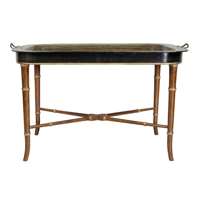 Paper Regency Papier Mâché Tray Top Coffee Table For Sale - Image 7 of 13