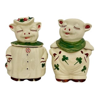 """Set of Vintage Shawnee Pig Cookie Jars """"Smiley & Winnie""""-Circa 1940 For Sale"""