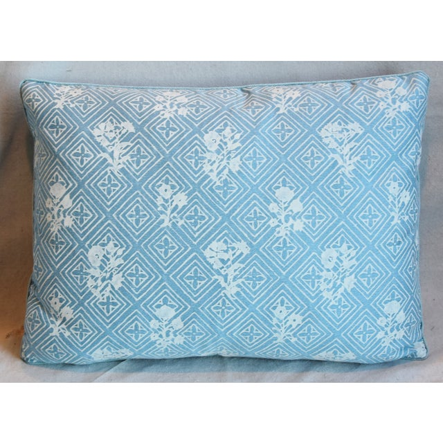 """French Blue & White Italian Mariano Fortuny Feather/Down Pillows 22"""" X 16"""" - Pair For Sale - Image 3 of 13"""