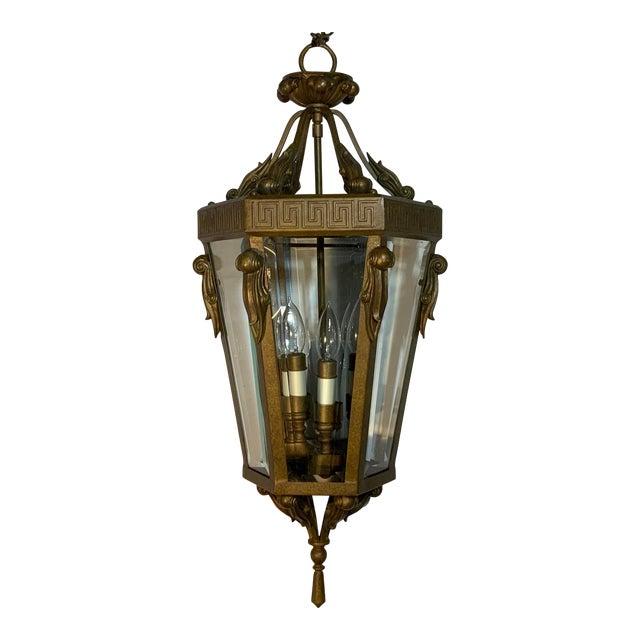 Vintage Six Sided Indoor Hanging Lantern Chandelier For Sale