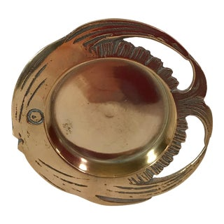 Vintage Round Brass Fish Dish For Sale