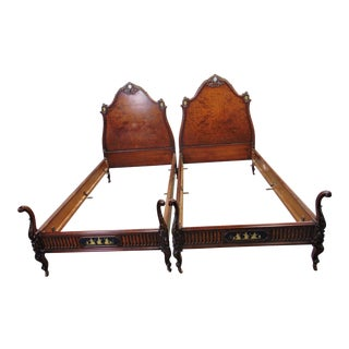 French Neoclassical Carved Burl Walnut Single Beds - a Pair For Sale