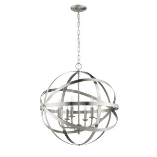 The Orbit 6 Light Chandelier, Satin Nickel For Sale
