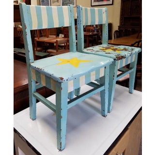 Pair of Vintage Shabby Chic Painted Children's Chairs C.1930s Preview