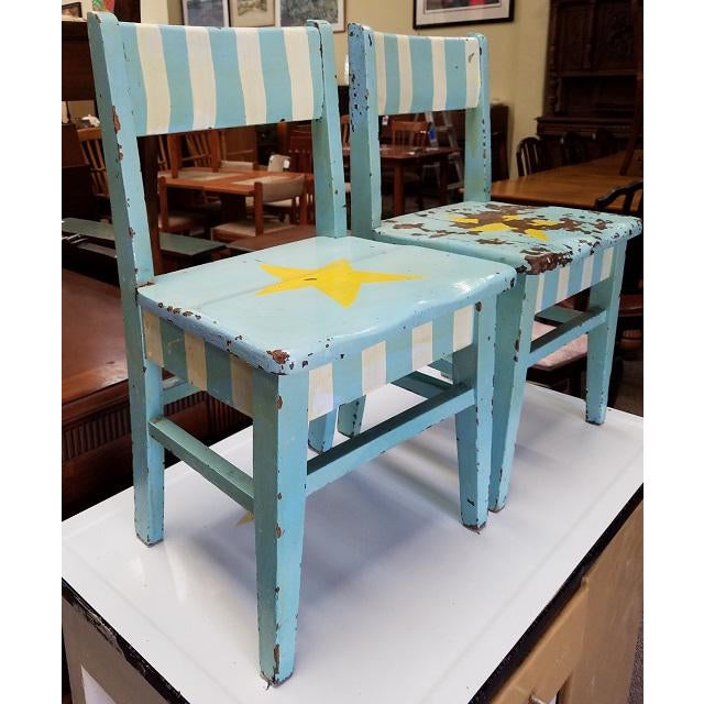 Pair of Painted Child Chairs c.1930s Fabulous Old School American Made Child Chairs The Seat of Each Chair has a Star –...