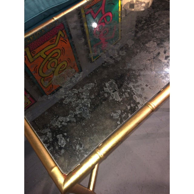 Gold Gilt Faux Bamboo and Mirror Side Table - Image 4 of 7