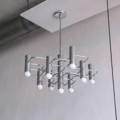 Stunning 9 light chrome chandelier by Boulanger.