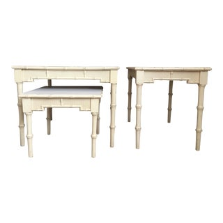 Hollywood Regency Faux Bamboo Nesting Table - Set of 3