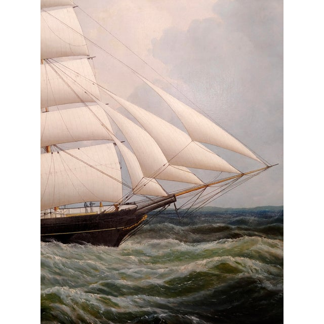 19th Century Portrait of an American Sailing Ship- Oil Painting -C1860s For Sale In Los Angeles - Image 6 of 12