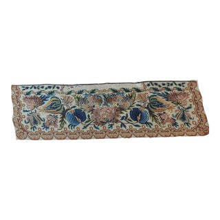 Large Antique Italian Floral Needlepoint Tapestry Fragment/Window Valance For Sale
