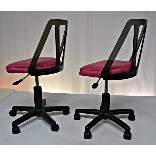 Vintage Smoked Lucite Office Chairs - Pair - Image 6 of 9