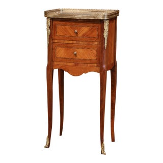 19th Century French Marquetry and Bronze Walnut Nightstand With Grey Marble Top For Sale