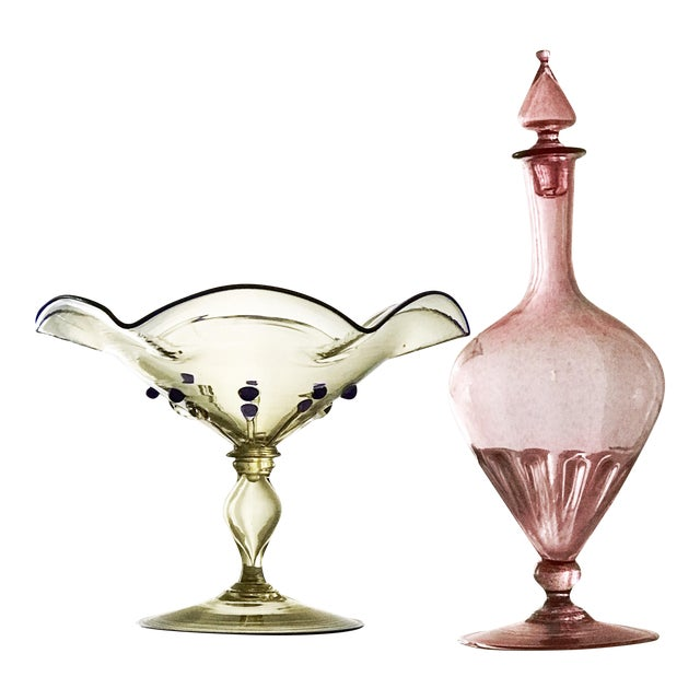 Steuben & Cappelin Italian Art Glass Decanter & Compote - A Pair For Sale