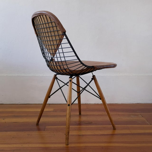 Eames Dkw-2 Dowel Wire Chair With Leather Bikini Cover For Sale In San Diego - Image 6 of 13