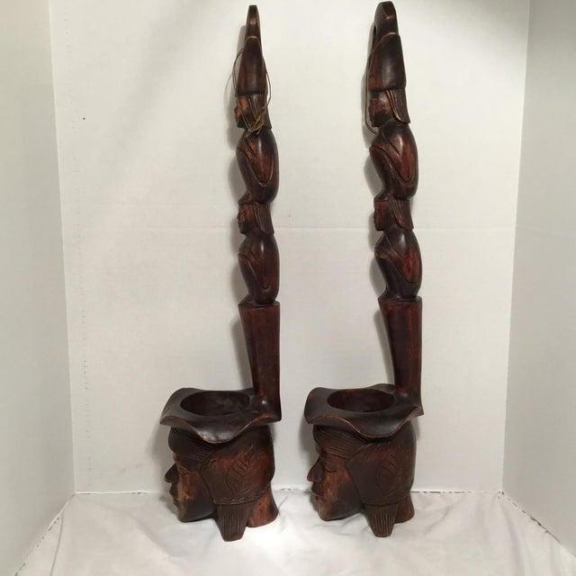 Asian South East Asian Wooden Folk Art Statues For Sale - Image 3 of 11