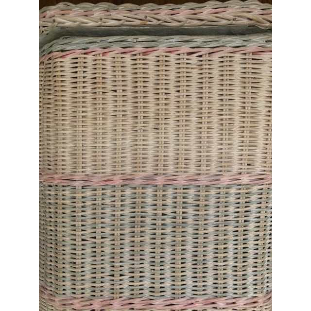 1960s White-Washed Natural, Pink and Mint Striped Octagonal Wicker Clothes Hamper With Braided Trim For Sale - Image 11 of 13