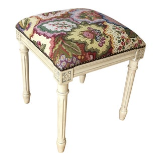 Hand Embroidered Accent Stool For Sale
