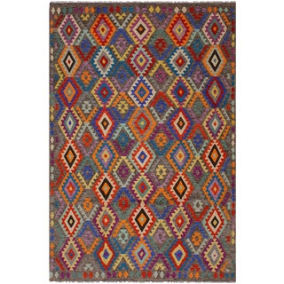 Bohemian Tribal Winnie Grey/Blue Hand-Woven Kilim Wool Rug - 7'0 X 9'8 For Sale