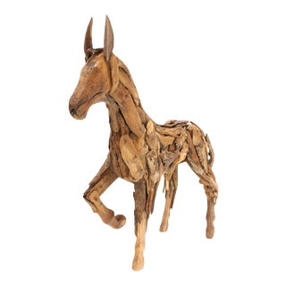 Early 20th Century Antique Reclaimed Wood Folk Art Horse Sculpture For Sale