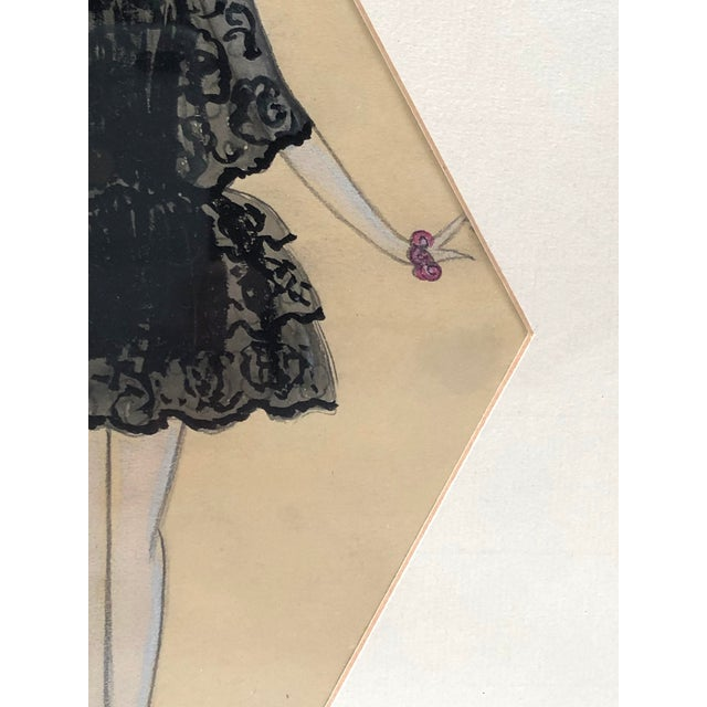 Wood Art Deco Period Fashion Costume Drawing of Venetian Woman For Sale - Image 7 of 10