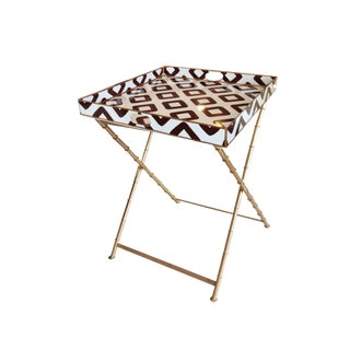 Traditional Dana Gibson Brown Bamboo and Steel Side Table For Sale