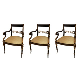 Maitland Smith Regency Style Armchairs - Set of 3 For Sale
