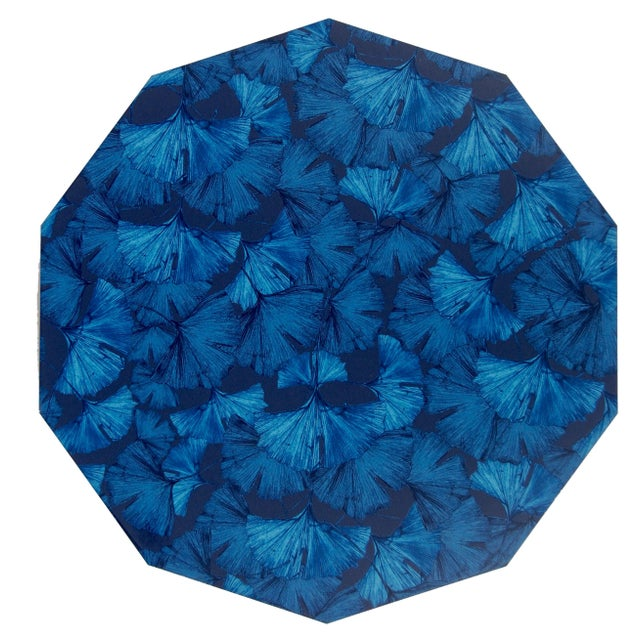 Contemporary Ginko Placemat in Blue For Sale - Image 3 of 3
