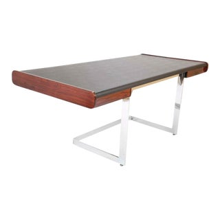 Rosewood and Leather Desk on Floating Chrome Base by Ste. Marie Laurent For Sale