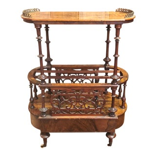 Antique English Burled Walnut Canterbury, Circa 1870.
