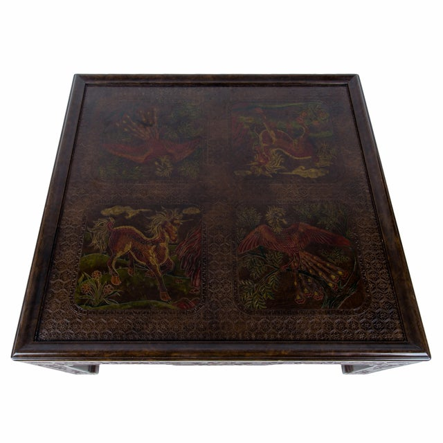 A Mario Buatta for John Widdicomb chinoiserie coffee table, 1978. Faux tortoise shell finish with finely detailed incised...