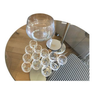Leaded Glass Punch Bowl & Cups - Set of 14 For Sale