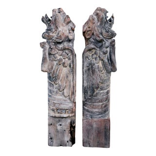 Bernard Maybeck Carved Wood Griffin Eaves - A Pair For Sale