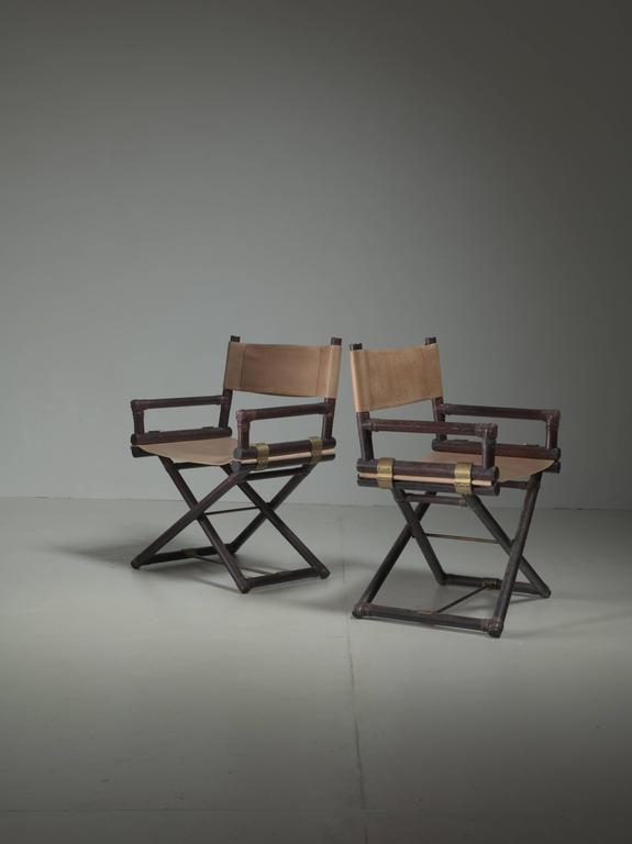 McGuire Pair Of Wood, Leather And Brass Directoru0027s Chairs, USA, 1950s    Image