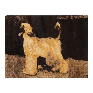 Afghan Pictorial Dog Design Black and Gold Goat Hair Rug - 5′7″ × 7′3″ For Sale