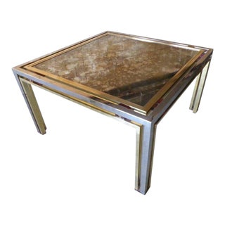 Glamorous Chrome & Brass Cocktail Table With Distressed Mirror Top by Romeo Rega For Sale