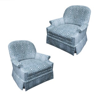 Kravet Upholstered Lounge Swivel Chairs - A Pair