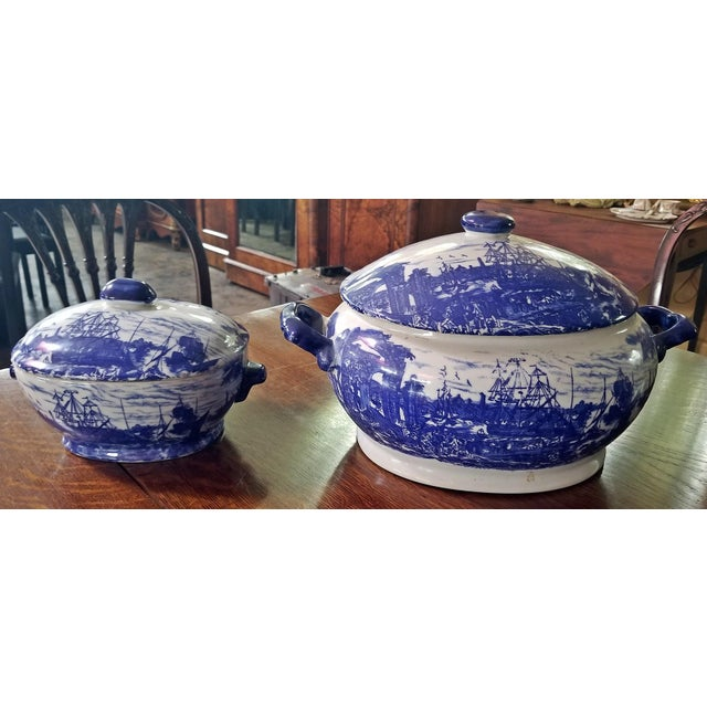 Pair of 19c Staffordshire Ironstone Lidded Tureens of Shipping Scenes For Sale - Image 12 of 13