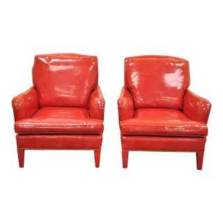 Vintage Mid-Century Hollywood Regency Red Vinyl Chairs- A Pair For Sale