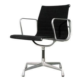 Vintage Eames Aluminum Group Chair in Black Hopsack For Sale
