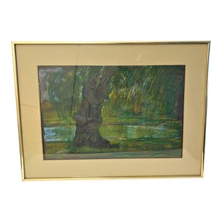 """Vintage 1980s Painting """"Willow"""" by Listed Artist John Elliot, Opa With Coa For Sale"""