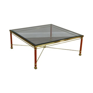 LaBarge Large Square Brass & Glass Coffee Table For Sale