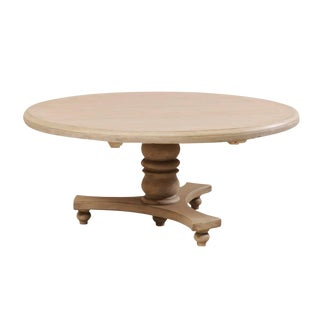 Lovely Round-Shaped Painted Wood Dining Table on Turned Pedestal For Sale
