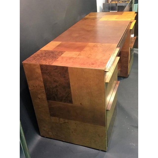 PAUL EVANS PATCHWORK BURLED WOOD AND LEATHER DESK - Image 5 of 10