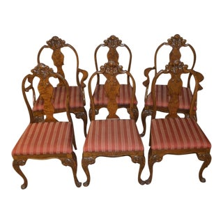 1950s Vintage Carved Walnut & Burl French Style Dining Chairs - Set of 6 For Sale