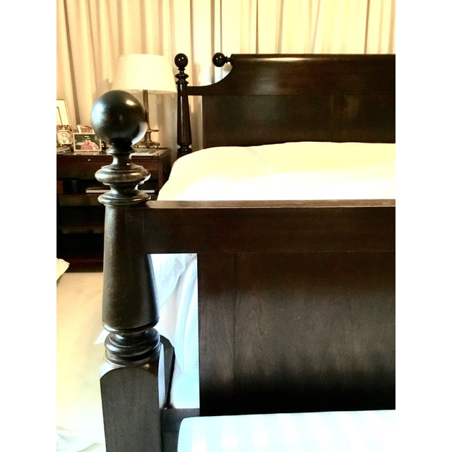 Ebonized Reproduction Canon Ball Bed Frame - Image 3 of 7