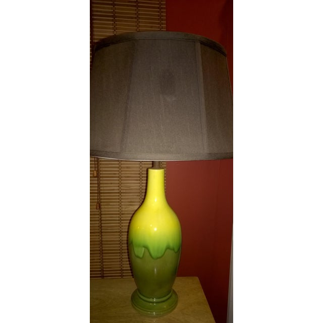 Mid-Century Green Glazed Pottery Table Lamp - Image 6 of 6