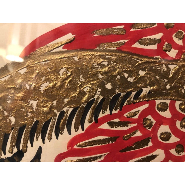 Red Gold/ Red/ Black Bird Acrylic Painting in Red Bamboo Frame For Sale - Image 8 of 12
