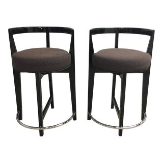 Preview Pair Counter Height Lacquered Stools With Chrome Footrest- a Pair For Sale