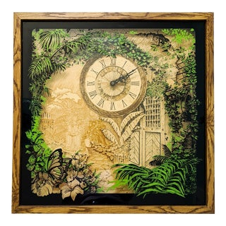 1970s Boho Chic Elgin Flora Shadow Box Wall Clock For Sale