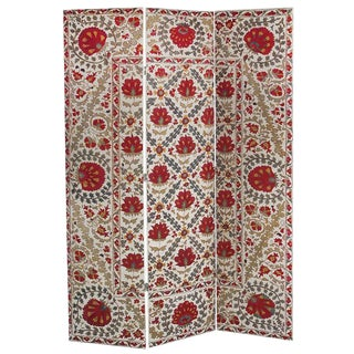 Hand Embroidery Suzani Textile Screen For Sale